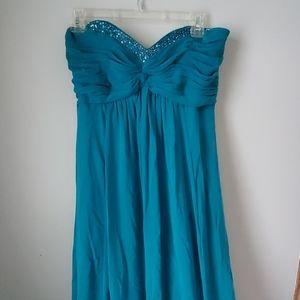 David's Bridal Teal Green Blue Bridesmaid Dress